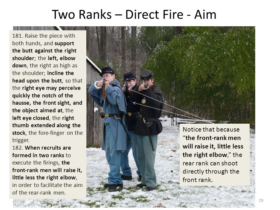 Two Ranks – Direct Fire - Aim Notice that because the front-rank men will raise it, little less the right elbow, the rear rank can shoot directly through the front rank.