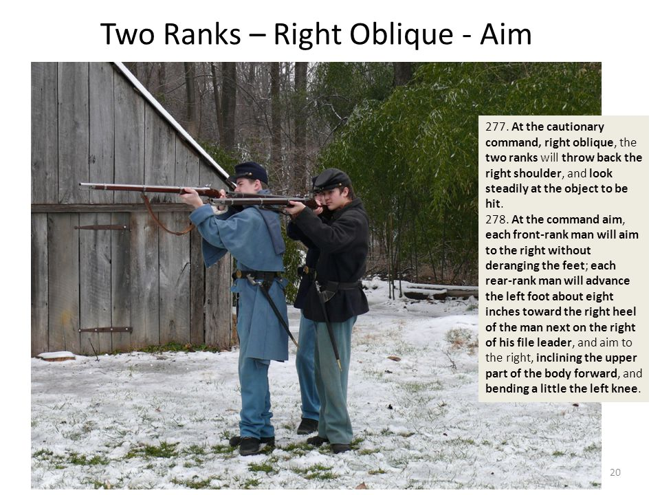 Two Ranks – Right Oblique - Aim 277. At the cautionary command, right oblique, the two ranks will throw back the right shoulder, and look steadily at