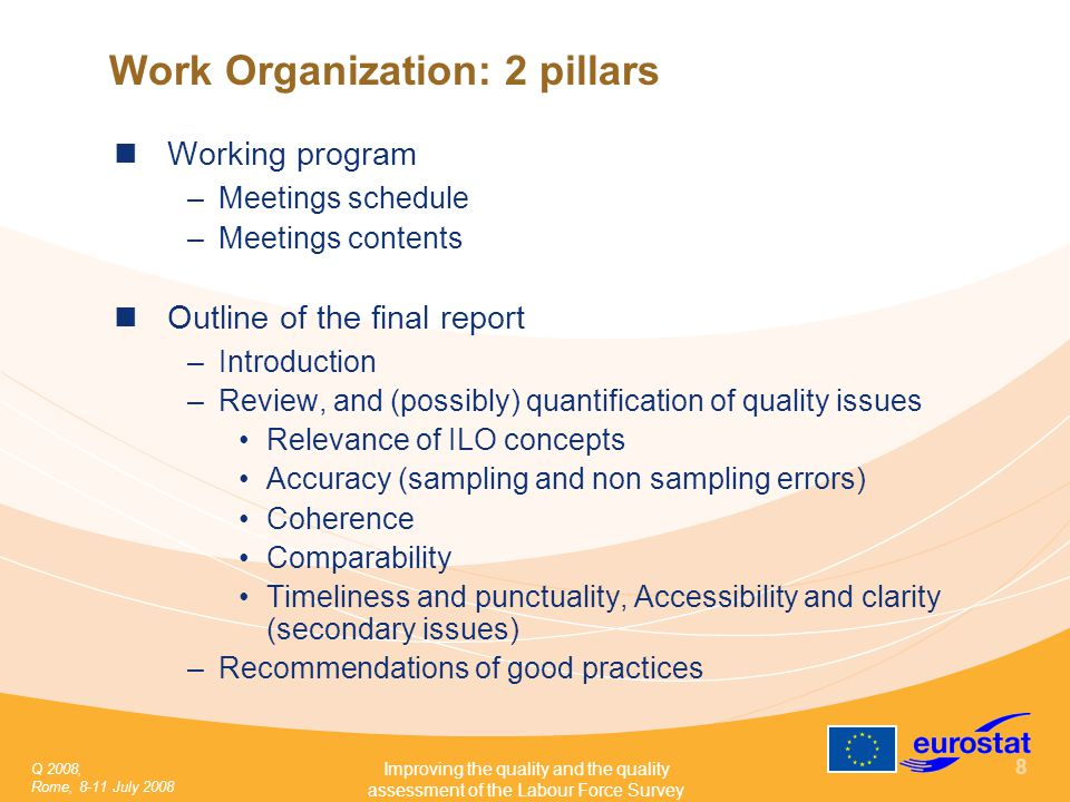 Q 2008, Rome, 8-11 July 2008 Improving the quality and the quality assessment of the Labour Force Survey 8 Work Organization: 2 pillars Working program –Meetings schedule –Meetings contents Outline of the final report –Introduction –Review, and (possibly) quantification of quality issues Relevance of ILO concepts Accuracy (sampling and non sampling errors) Coherence Comparability Timeliness and punctuality, Accessibility and clarity (secondary issues) –Recommendations of good practices