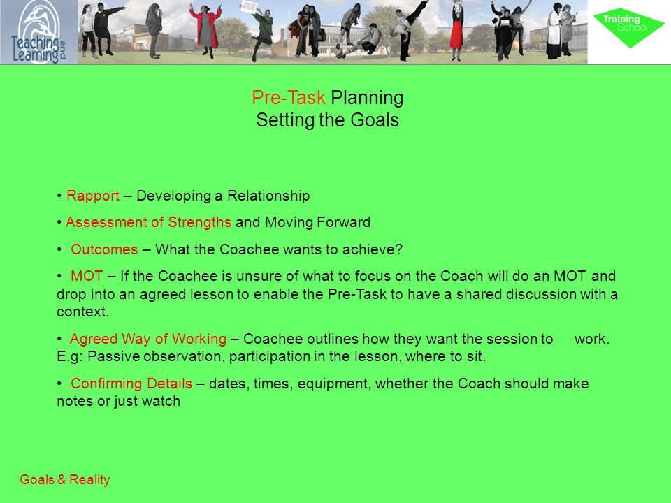 Pre-Task Planning Setting the Goals Rapport – Developing a Relationship Assessment of Strengths and Moving Forward Outcomes – What the Coachee wants to achieve.