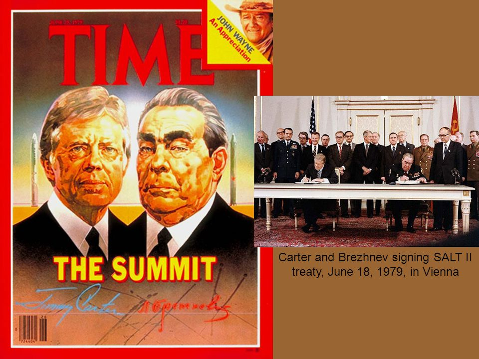 Carter and Brezhnev signing SALT II treaty, June 18, 1979, in Vienna