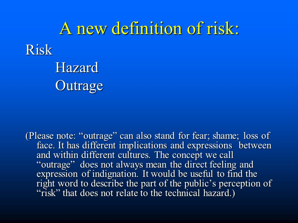 RiskHazardOutrage (Please note: outrage can also stand for fear; shame; loss of face.