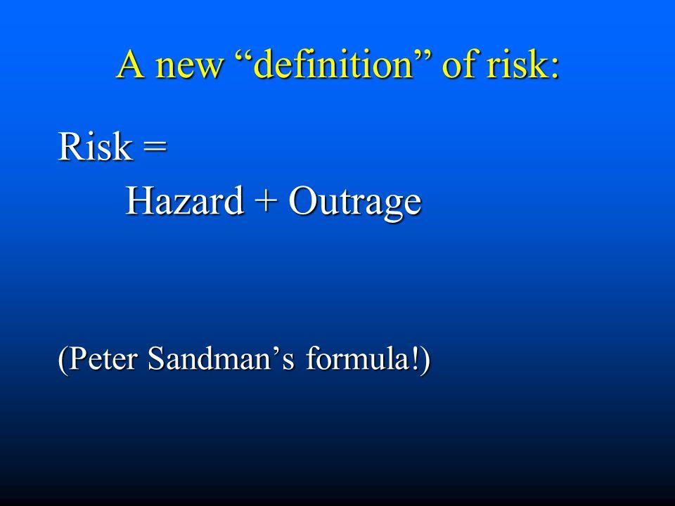 "A new ""definition"" of risk: Risk = Hazard + Outrage (Peter Sandman's formula!)"