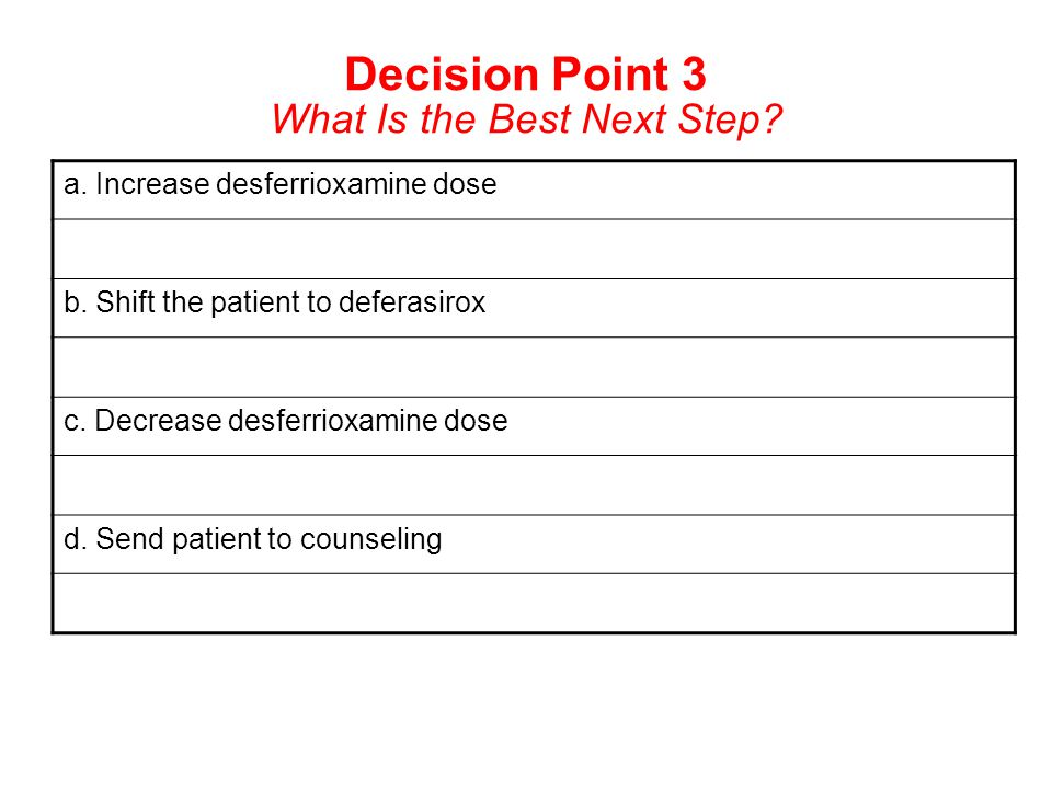 Decision Point 3 What Is the Best Next Step? a. Increase desferrioxamine dose b. Shift the patient to deferasirox c. Decrease desferrioxamine dose d.