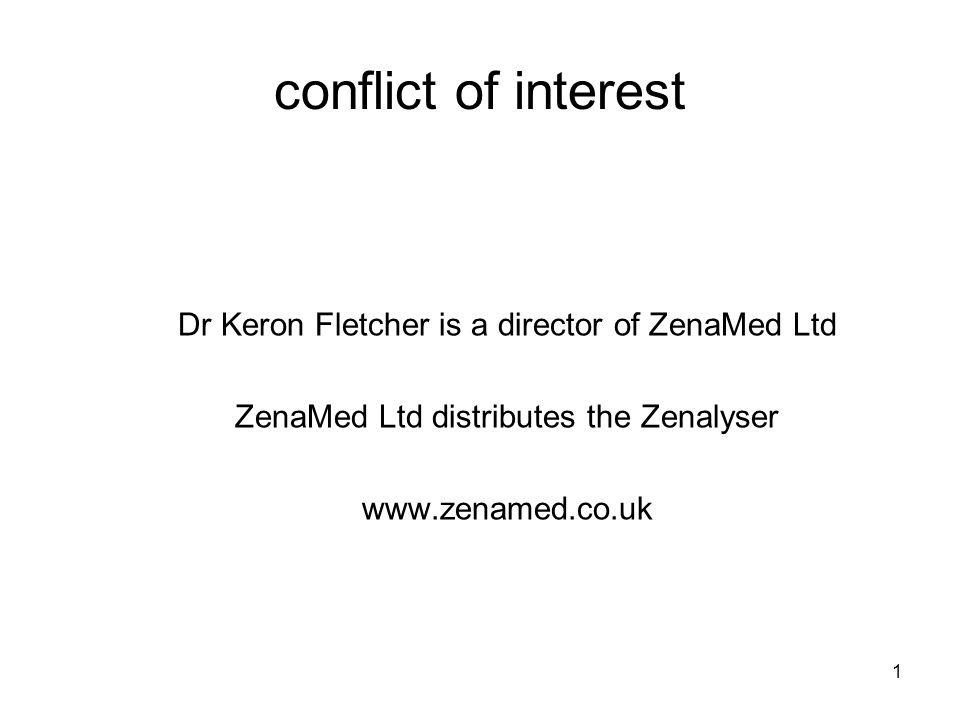 1 conflict of interest Dr Keron Fletcher is a director of ZenaMed Ltd ZenaMed Ltd distributes the Zenalyser www.zenamed.co.uk
