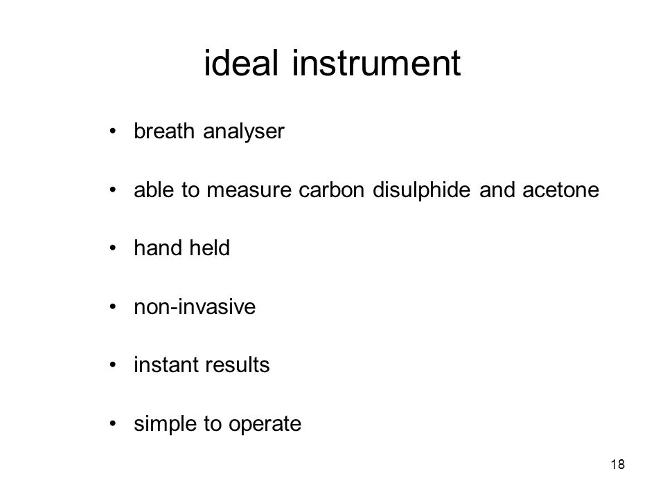 18 ideal instrument breath analyser able to measure carbon disulphide and acetone hand held non-invasive instant results simple to operate