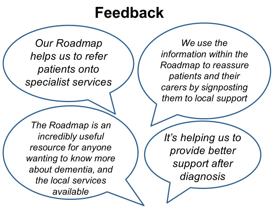 Feedback We use the information within the Roadmap to reassure patients and their carers by signposting them to local support Our Roadmap helps us to refer patients onto specialist services The Roadmap is an incredibly useful resource for anyone wanting to know more about dementia, and the local services available It's helping us to provide better support after diagnosis