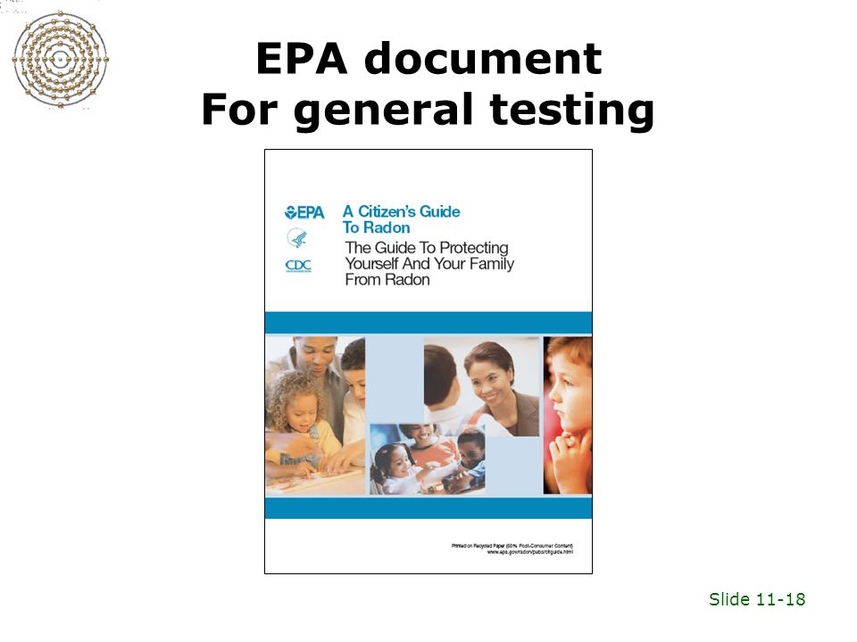 Slide 11-18 EPA document For general testing
