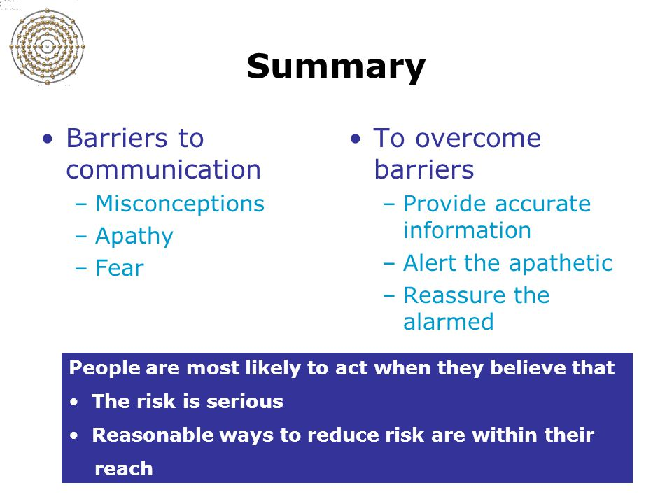 Slide 11-22 Summary Barriers to communication –Misconceptions –Apathy –Fear To overcome barriers –Provide accurate information –Alert the apathetic –Reassure the alarmed People are most likely to act when they believe that The risk is serious Reasonable ways to reduce risk are within their reach