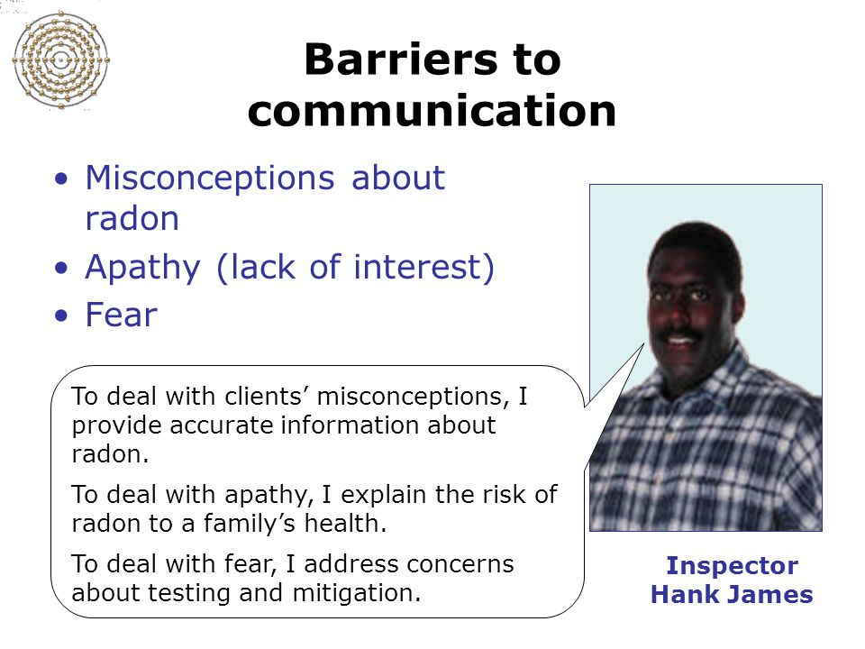 Slide 11-2 Barriers to communication Misconceptions about radon Apathy (lack of interest) Fear To deal with clients' misconceptions, I provide accurate information about radon.