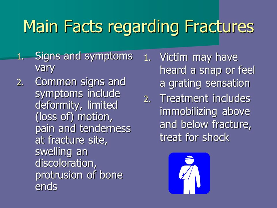 Main Facts regarding Fractures 1. Signs and symptoms vary 2. Common signs and symptoms include deformity, limited (loss of) motion, pain and tendernes