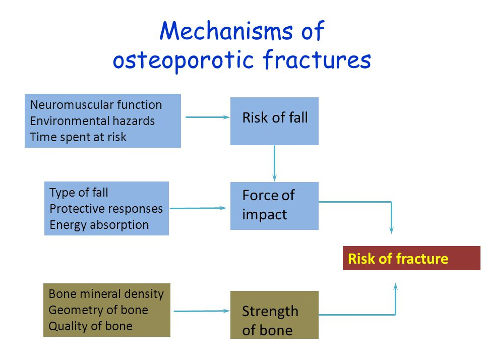 Determinants of fracture risk Age History of previous fracture Bone density (Falls) Others - less consistent – Family history – Smoking – Early menopause