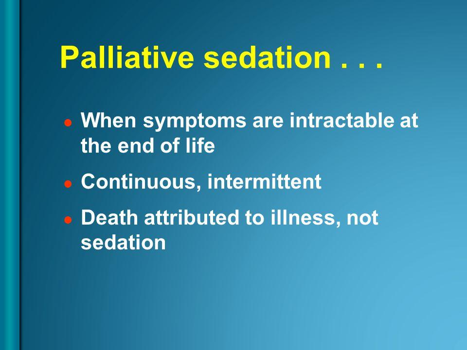 Palliative sedation...