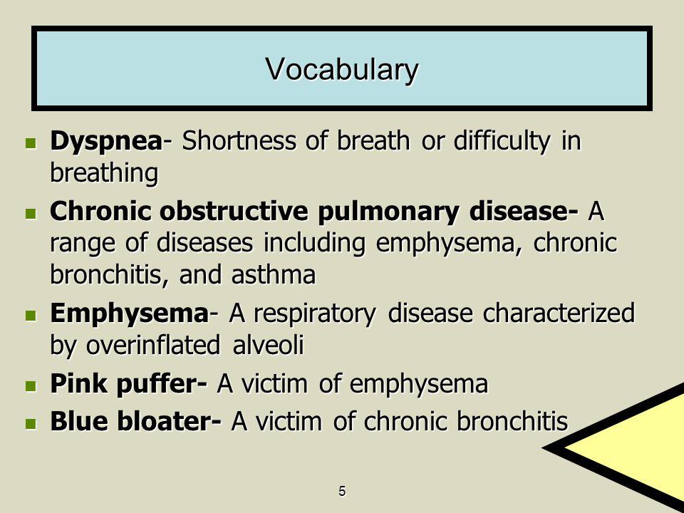 5 Vocabulary Dyspnea- Shortness of breath or difficulty in breathing Dyspnea- Shortness of breath or difficulty in breathing Chronic obstructive pulmo