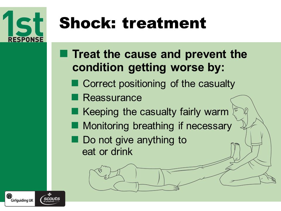 Treat the cause and prevent the condition getting worse by: Shock: treatment Correct positioning of the casualty Reassurance Keeping the casualty fairly warm Monitoring breathing if necessary Do not give anything to eat or drink