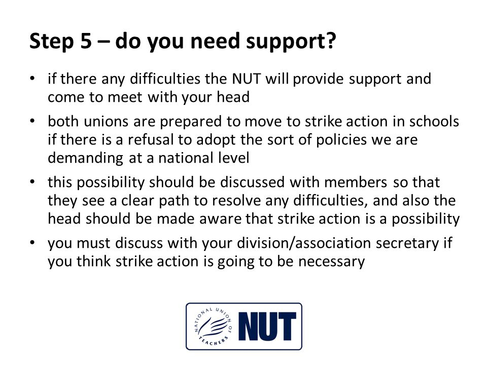 Step 5 – do you need support.