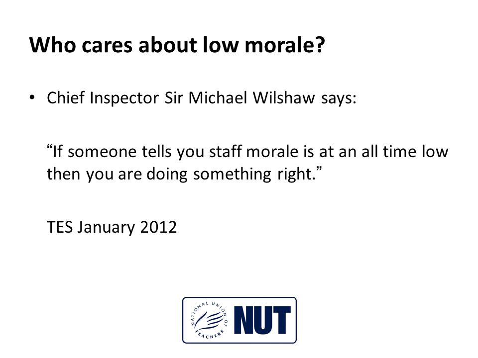 Who cares about low morale.