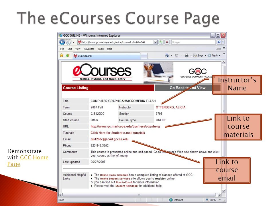 Instructor's Name Link to course materials Link to course email Demonstrate with GCC Home PageGCC Home Page