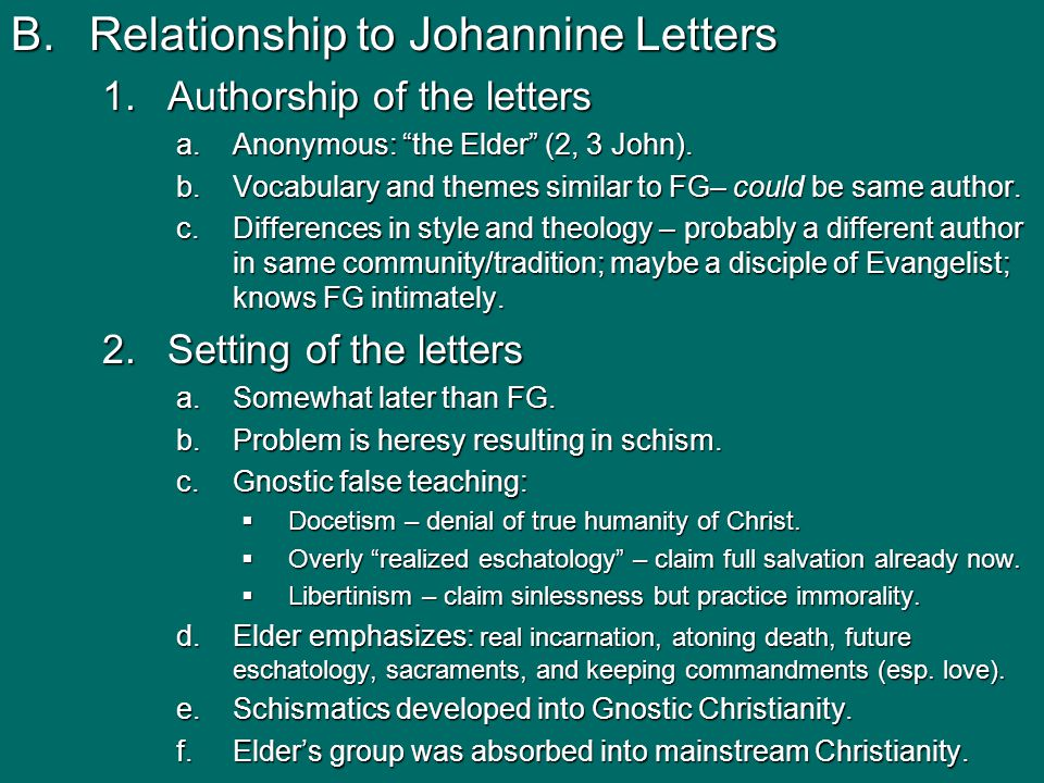 B.Relationship to Johannine Letters 1.Authorship of the letters a.Anonymous: the Elder (2, 3 John).