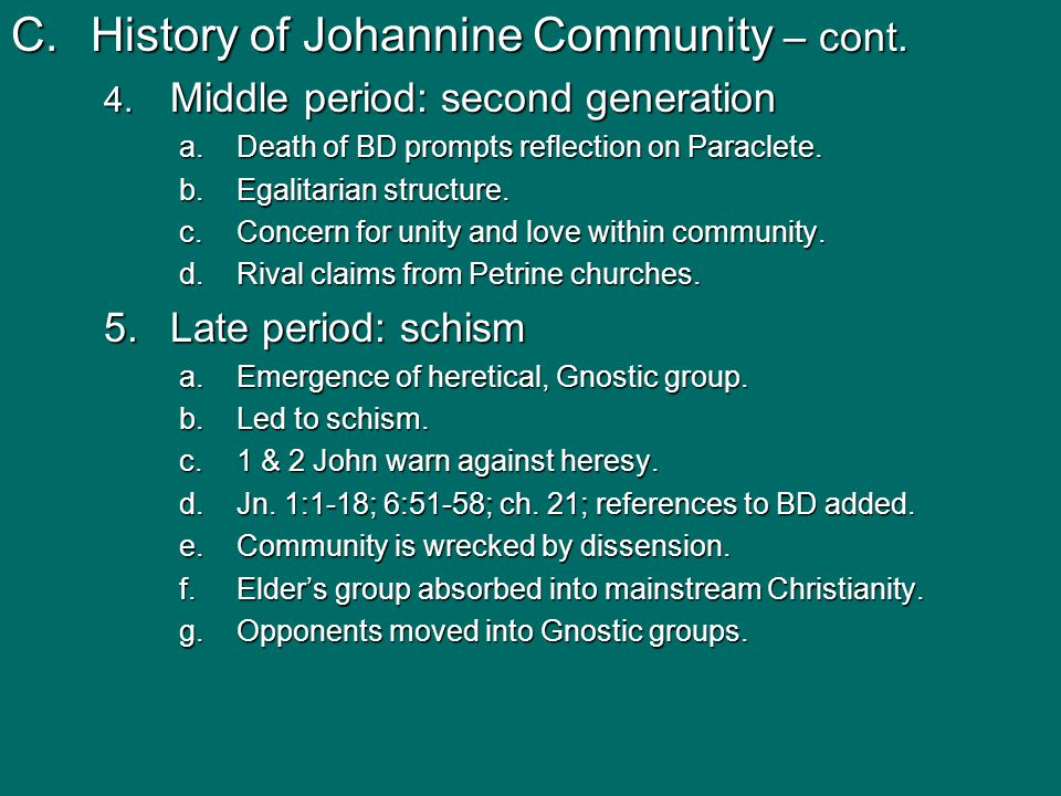 C.History of Johannine Community – cont. 4. Middle period: second generation a.Death of BD prompts reflection on Paraclete. b.Egalitarian structure. c