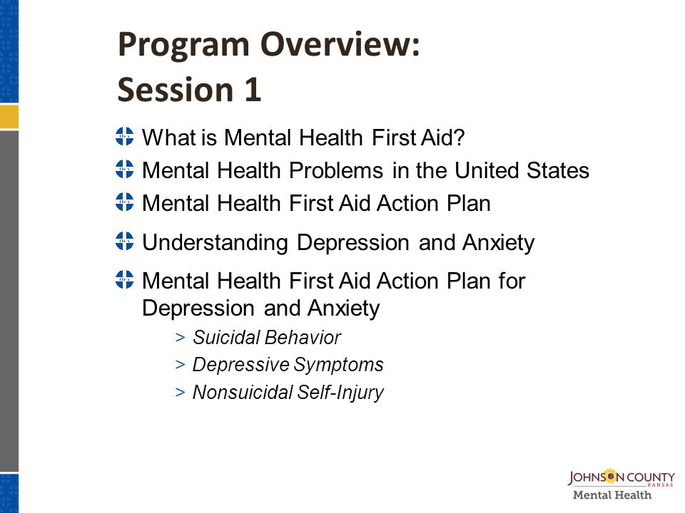 Program Overview: Session 1 What is Mental Health First Aid.