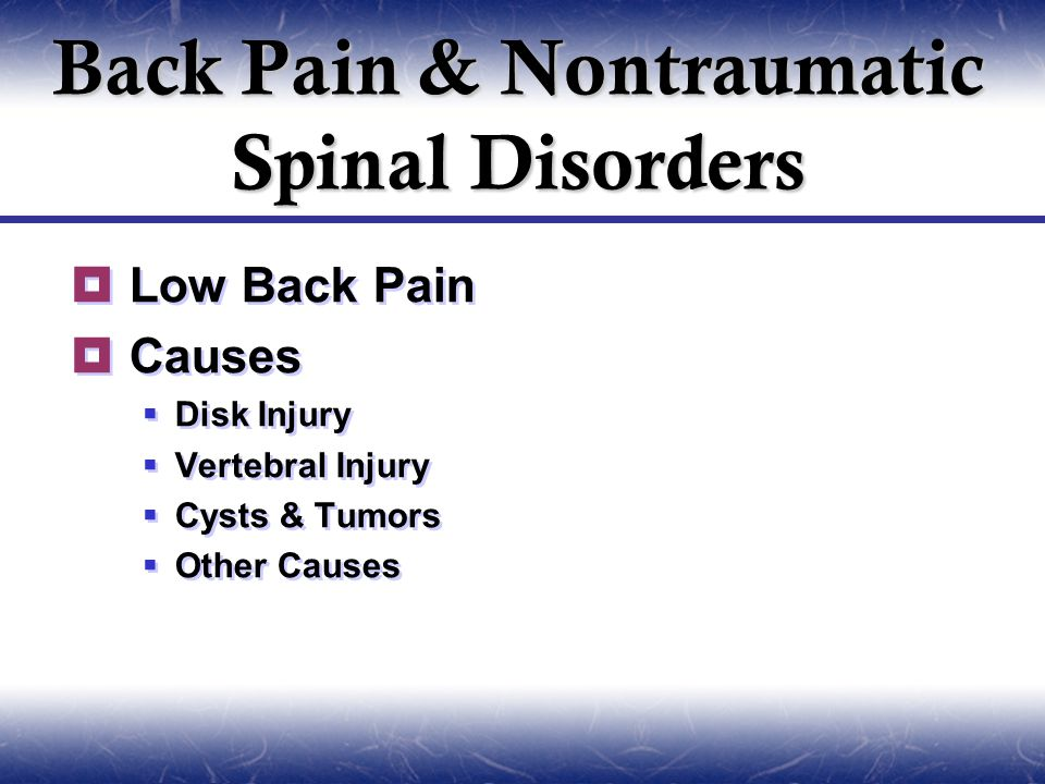  Low Back Pain  Causes  Disk Injury  Vertebral Injury  Cysts & Tumors  Other Causes  Low Back Pain  Causes  Disk Injury  Vertebral Injury  Cysts & Tumors  Other Causes Back Pain & Nontraumatic Spinal Disorders