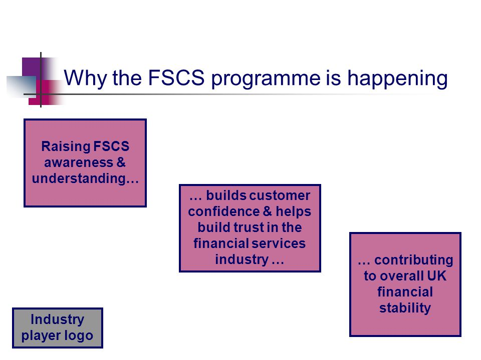 Industry player logo Why the FSCS programme is happening Raising FSCS awareness & understanding… … builds customer confidence & helps build trust in the financial services industry … … contributing to overall UK financial stability