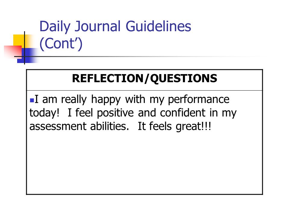 Daily Journal Guidelines (Cont') REFLECTION/QUESTIONS I am really happy with my performance today.