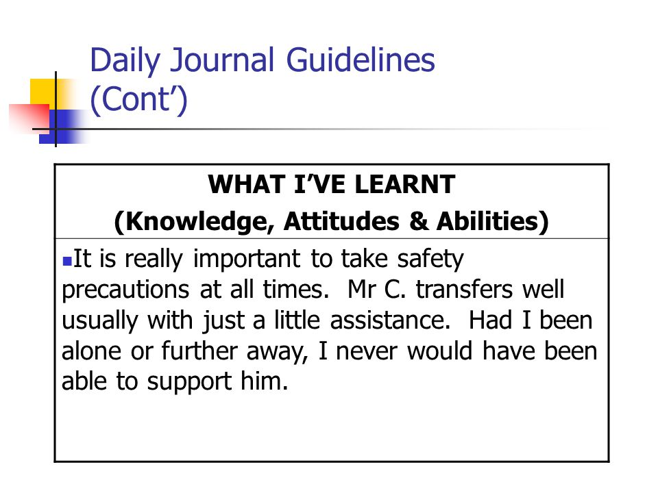 Daily Journal Guidelines (Cont') WHAT I'VE LEARNT (Knowledge, Attitudes & Abilities) It is really important to take safety precautions at all times.