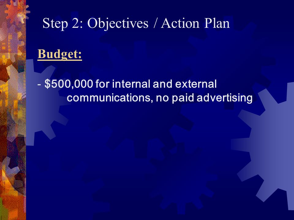 Step 3: Communication Tactics Implementation/Execution Responsible for: - small in-house team - PR agencies retained to assist with planning and implementation
