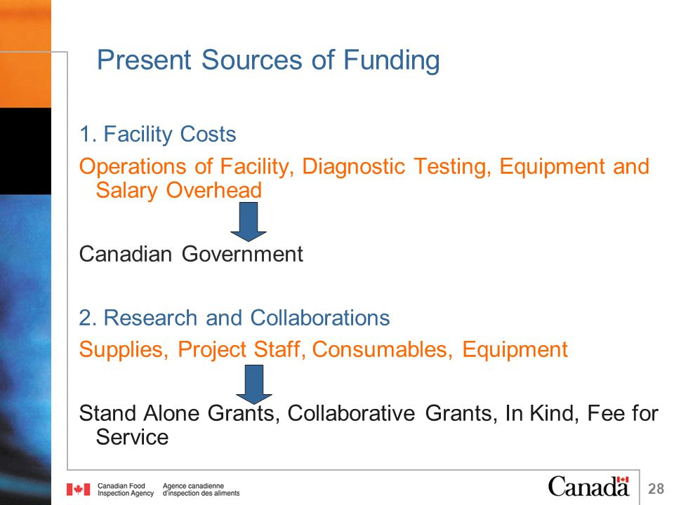 28 Present Sources of Funding 1.