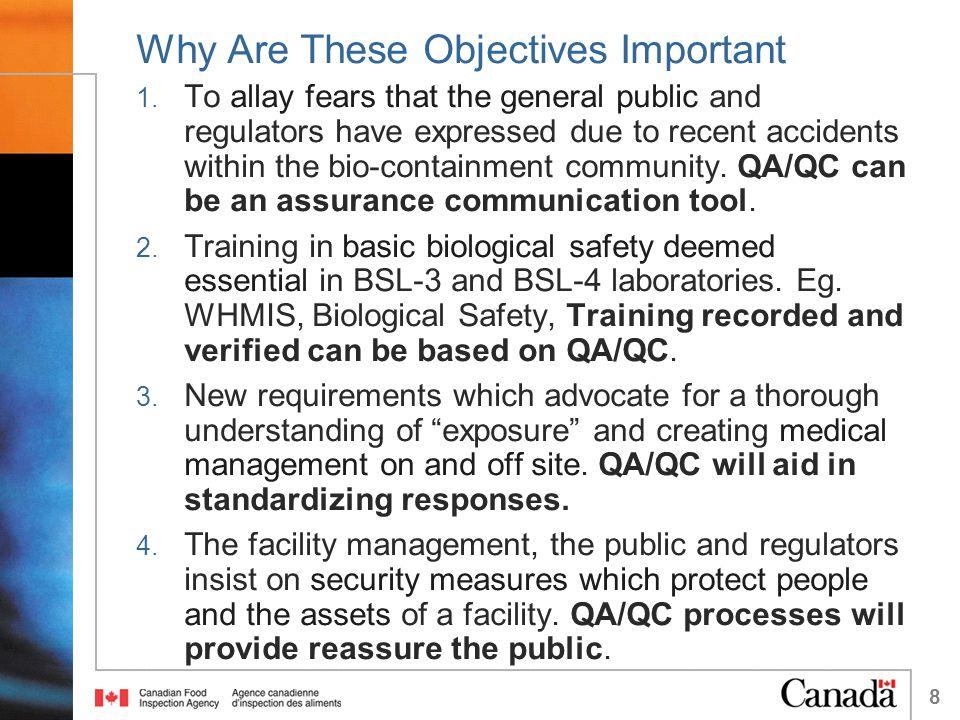 19 Project Management and QA/QC Under a QA/QC systems: Equipment 1.