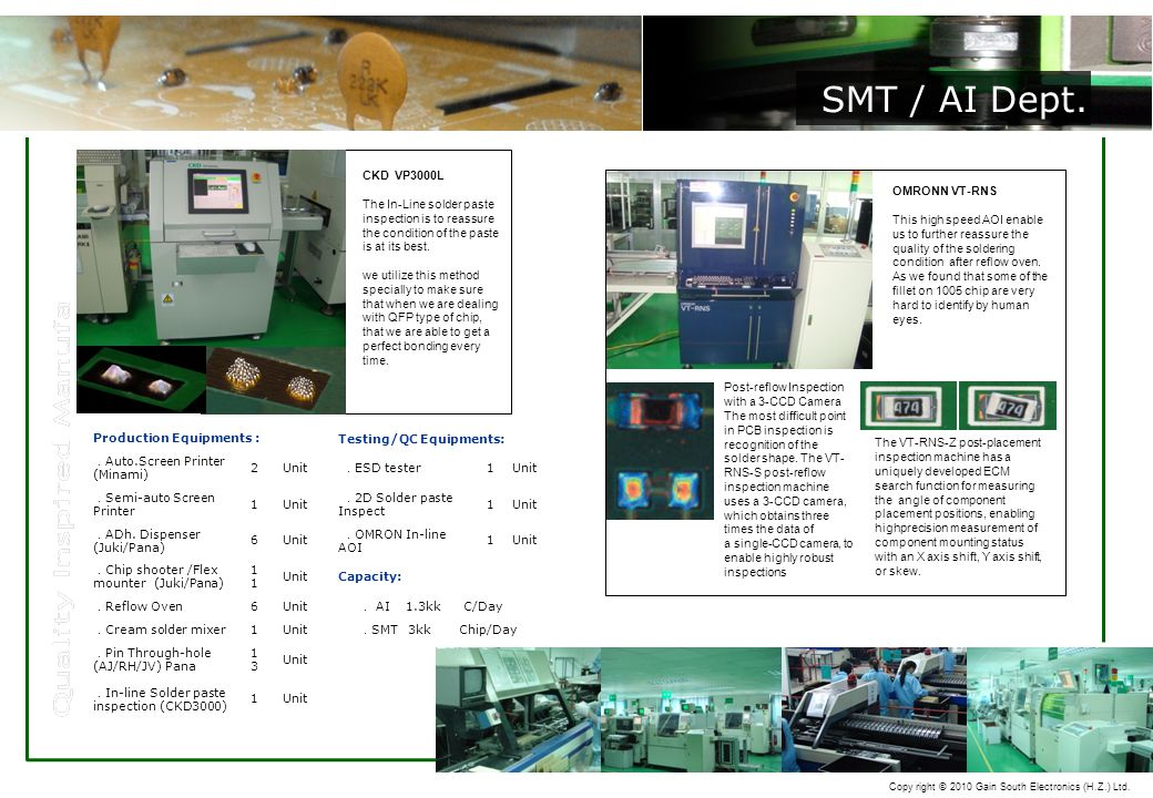 Copy right © 2010 Gain South Electronics (H.Z.) Ltd. Production Equipments : Testing/QC Equipments: . Auto.Screen Printer (Minami) 2Unit . ESD tester