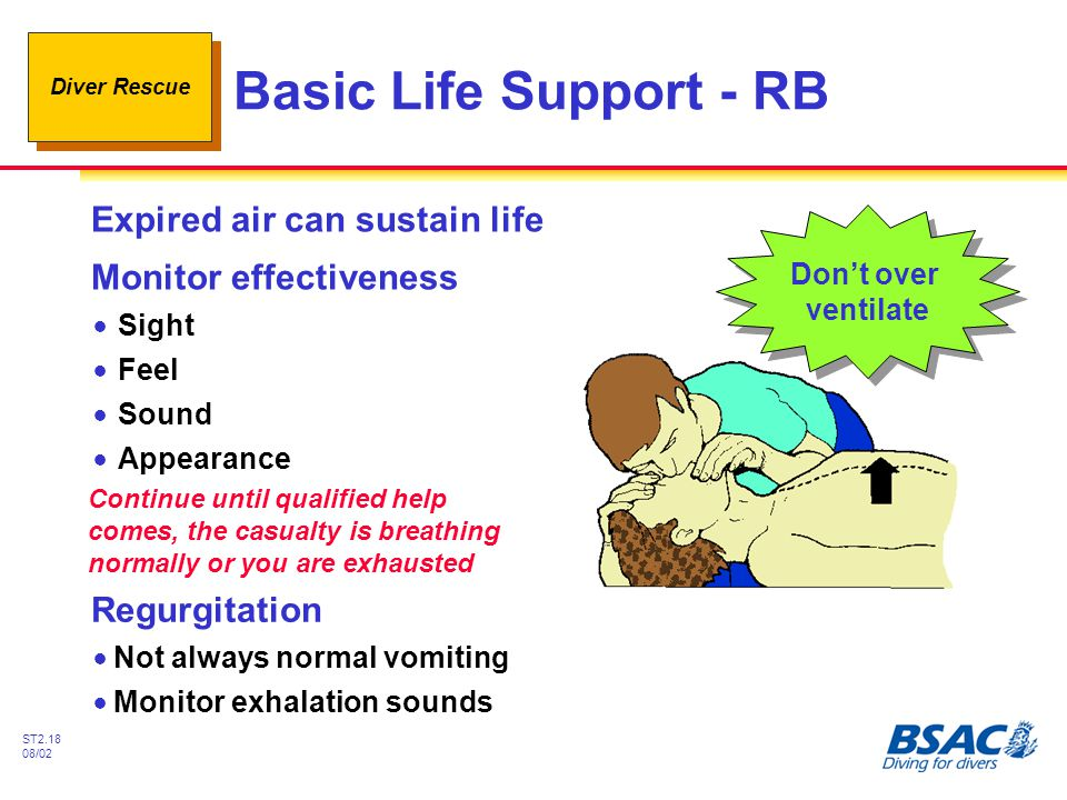 Diver Rescue ST2.18 08/02 Basic Life Support - RB Expired air can sustain life Monitor effectiveness Don't over ventilate Don't over ventilate Continu