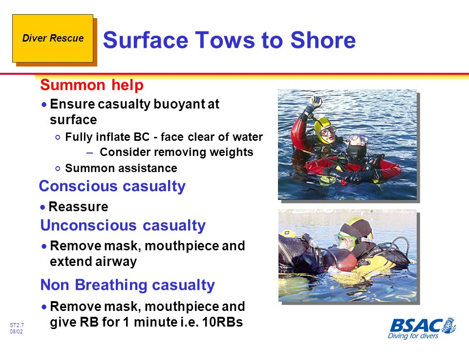 Diver Rescue ST2.7 08/02 Surface Tows to Shore Conscious casualty !Reassure Unconscious casualty !Remove mask, mouthpiece and extend airway Non Breath