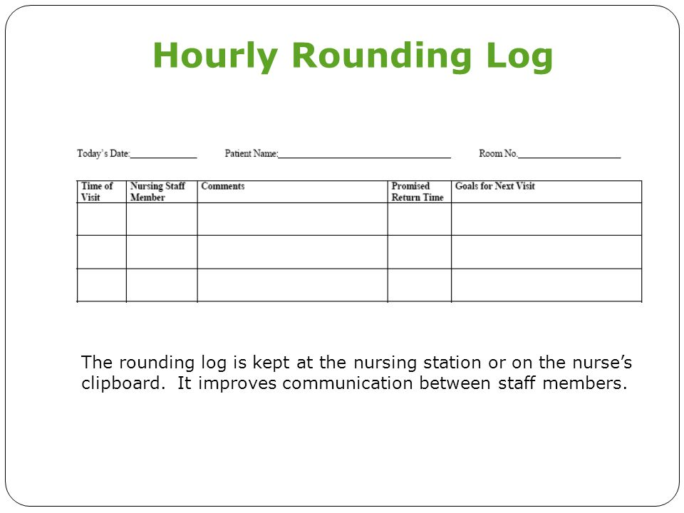 Hourly Rounding Log The rounding log is kept at the nursing station or on the nurse's clipboard.