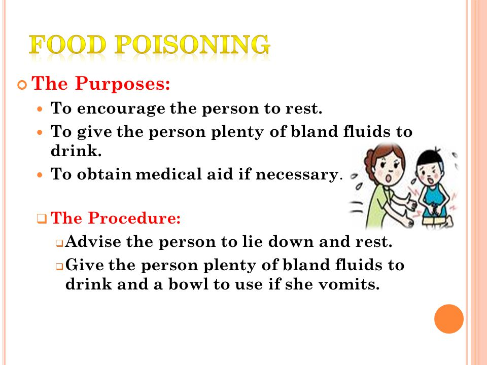 The Purposes: To encourage the person to rest. To give the person plenty of bland fluids to drink.