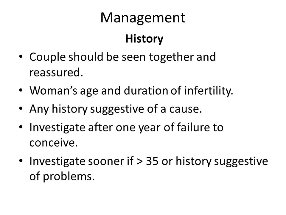 Management History Couple should be seen together and reassured.