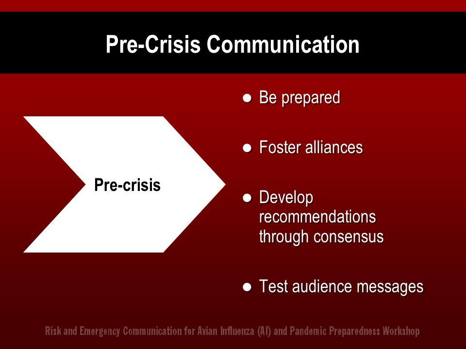 Pre-Crisis Communication Be prepared Foster alliances Develop recommendations through consensus Test audience messages Pre-crisis