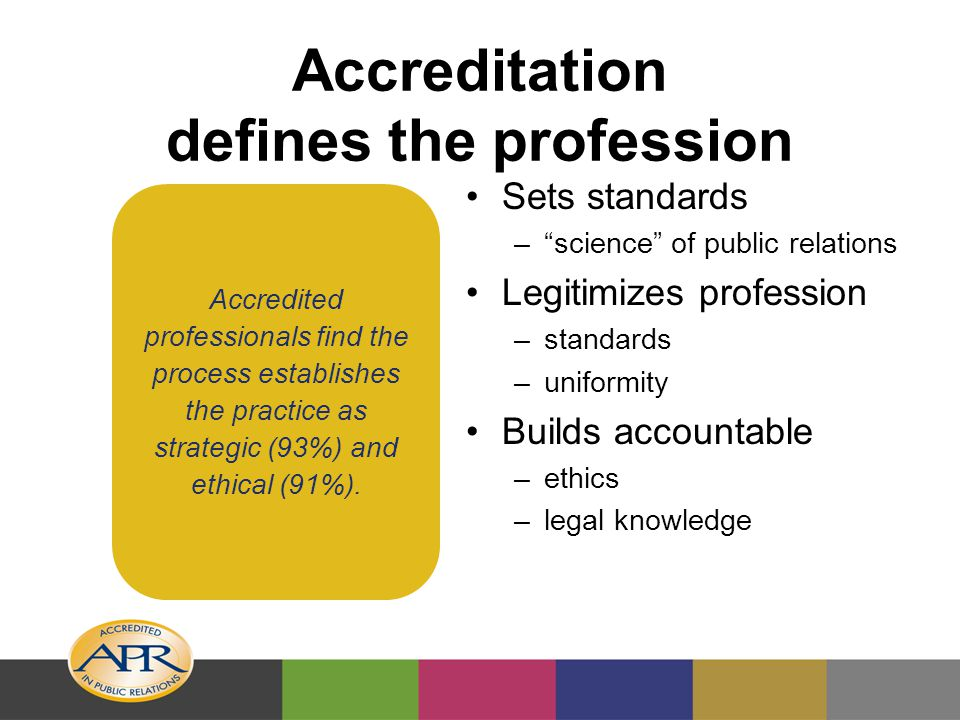 Accreditation serves changing profession Continued high standards Brand equity through unified program across many industries, specialties, geographies Meeting human resource recruiting criteria Increased visibility among business and human resource communities