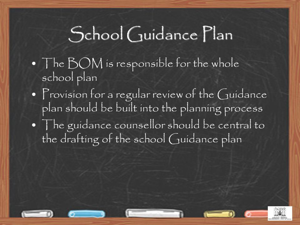 32 School Guidance Plan The BOM is responsible for the whole school plan Provision for a regular review of the Guidance plan should be built into the planning process The guidance counsellor should be central to the drafting of the school Guidance plan