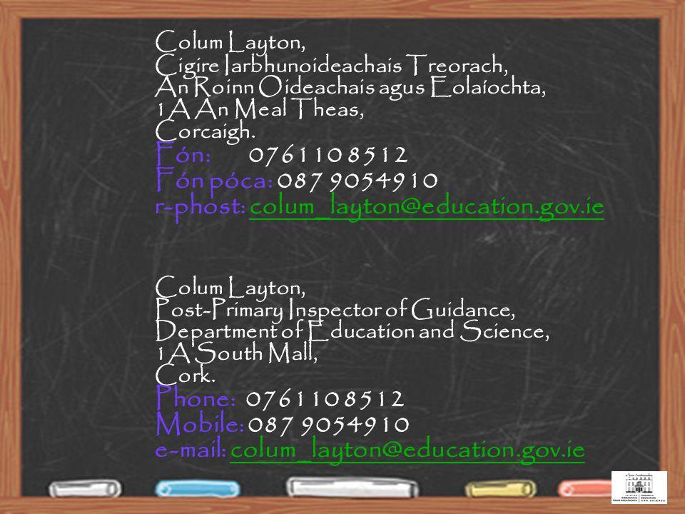 40 Colum Layton, Cigire Iarbhunoideachais Treorach, An Roinn Oideachais agus Eolaíochta, 1A An Meal Theas, Corcaigh.