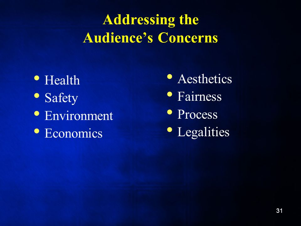 Addressing the Audience's Concerns Health Safety Environment Economics Aesthetics Fairness Process Legalities 31