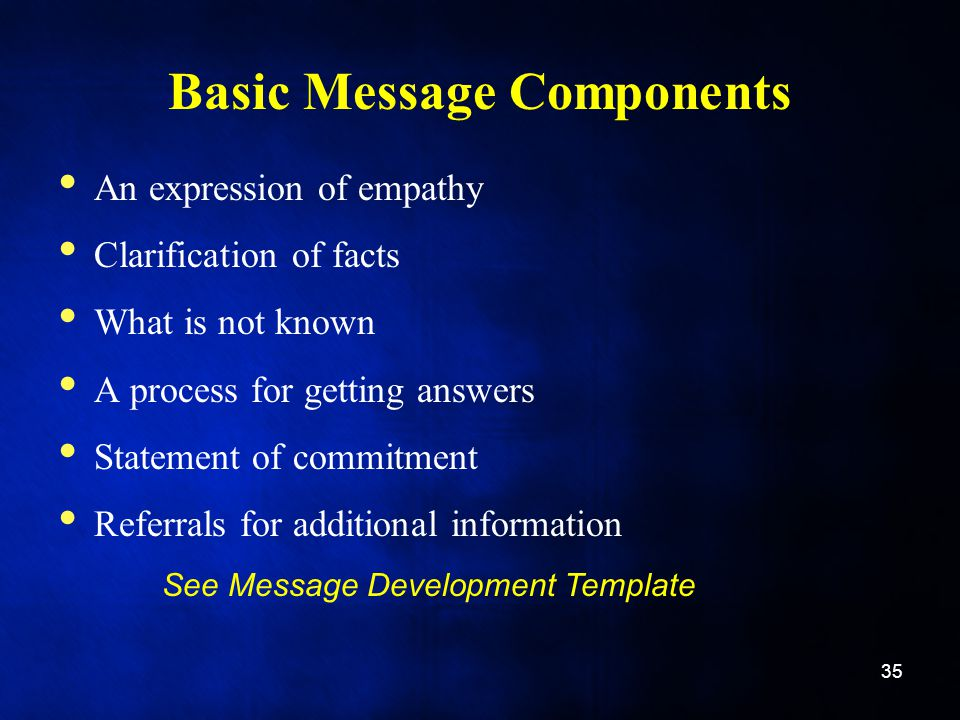 Basic Message Components An expression of empathy Clarification of facts What is not known A process for getting answers Statement of commitment Referrals for additional information 35 See Message Development Template
