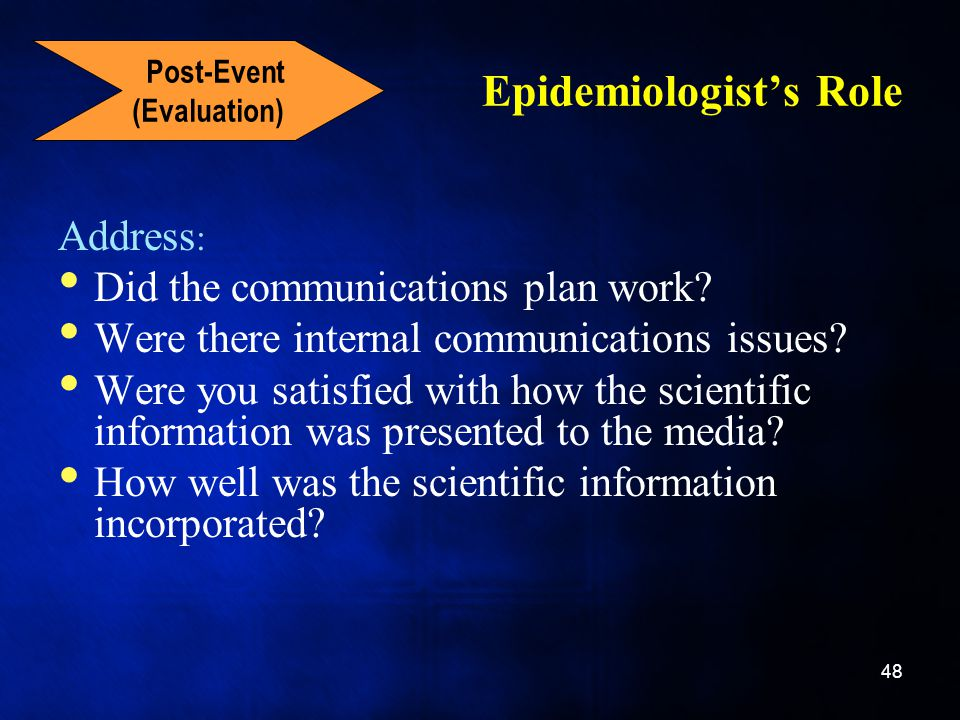 Epidemiologist's Role Address : Did the communications plan work.