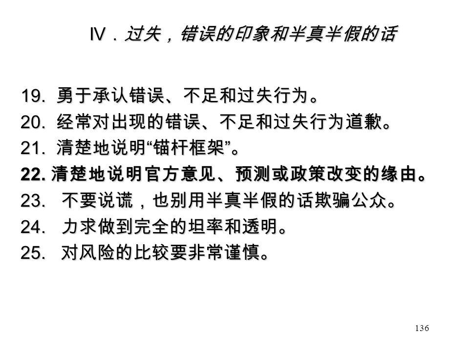 IV .过失,错误的印象和半真半假的话 19. 勇于承认错误、不足和过失行为。 20. 经常对出现的错误、不足和过失行为道歉。 21.