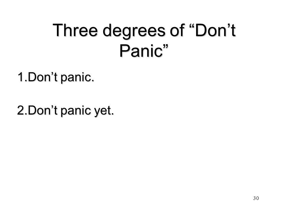 Three degrees of Don't Panic 1.Don't panic. 2.Don't panic yet. 30