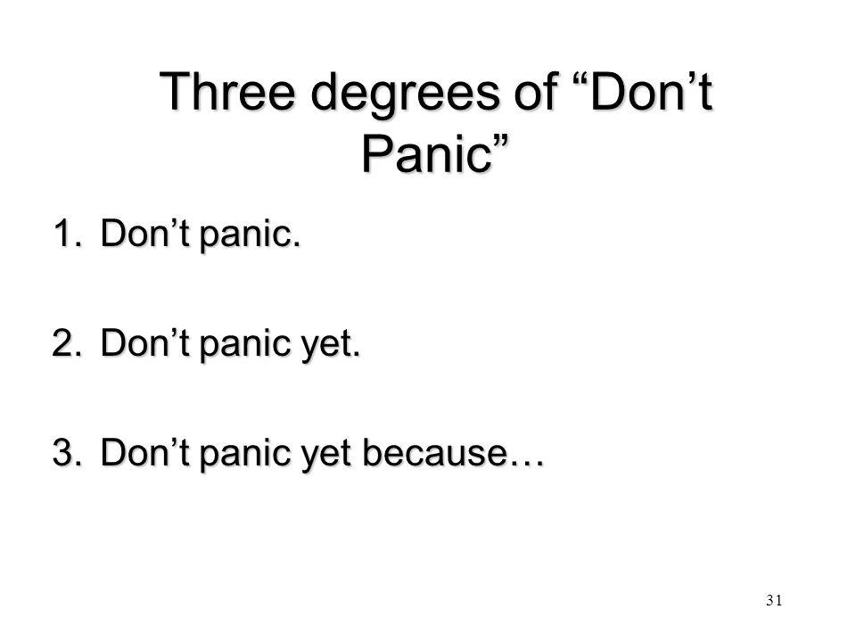 Three degrees of Don't Panic 1.Don't panic. 2.Don't panic yet. 3.Don't panic yet because… 31