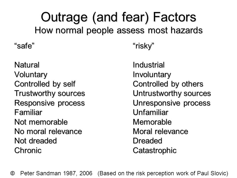 """Outrage (and fear) Factors How normal people assess most hazards """"safe""""""""risky"""" NaturalIndustrial VoluntaryInvoluntary Controlled by selfControlled by"""