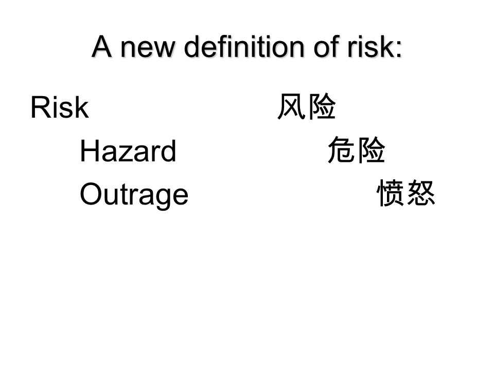 A new definition of risk: Risk 风险 Hazard 危险 Outrage 愤怒 Copyright 2006 Peter Sandman